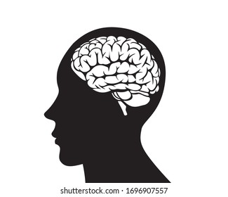 Human head profile with brain symbol, black and white icon vector illustration.