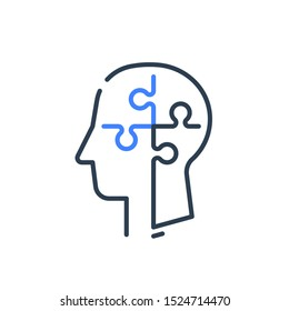 Human head profile and jigsaw puzzle, cognitive psychology or psychiatry therapy concept, mental health, brain problem, personality disorder, vector line icon