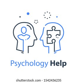 Human head profile and jigsaw puzzle, cognitive psychology or psychotherapy concept, mental health, brain problem, personality disorder, vector line design