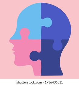 Human head, puzzle icon. Vector illustration, flat design. Colors-blue and pink