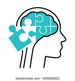 Human head with puzzle pieces as a brain metaphor. Psychological isolated vector illustration