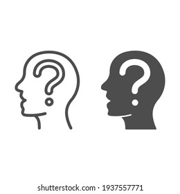 Human head and question line and solid icon, startup concept, Thinking man sign on white background, Question mark in head icon in outline style for mobile concept and web design. Vector graphics.