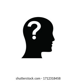 human head with Question mark icon, Question sign symbol flat design style, vector illustration