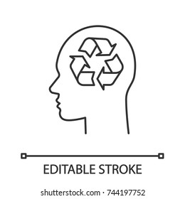 Human head with recycling sign inside linear icon. Pollution prevention ideas. Thin line illustration. Waste recycling thoughts. Contour symbol. Vector isolated outline drawing. Editable stroke