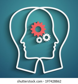 Human head  with set of gears as a symbol work of brain, vector eps10