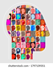 Human head shape design consisting with a different people portraits vector illustration.