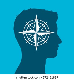 Human head in silhouette with compass rose sign inset against a blue background, vector illustration