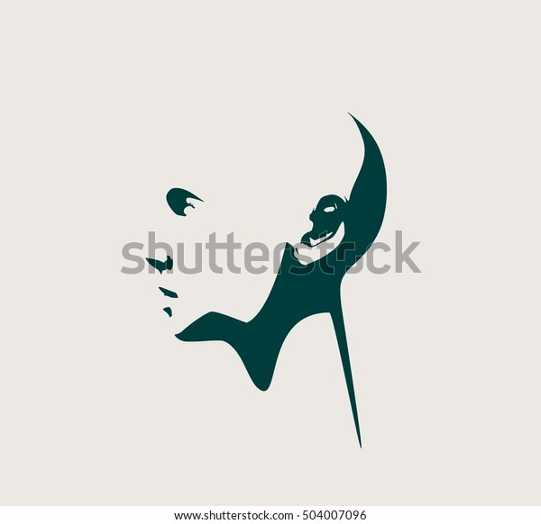 Human head silhouette. Face profile view. Elegant silhouette of part of human face. Vector Illustration