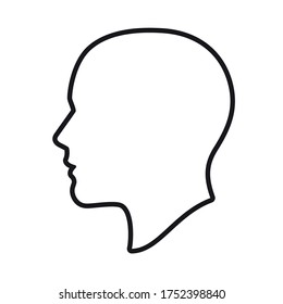Human head silhouette. Hand drawn line art profile drawing. Simple cartoon illustration isolated on white background.  Vector icon. Eps 10.