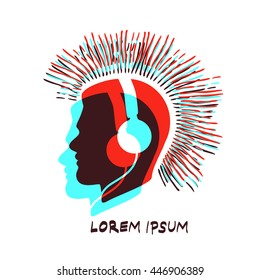 Human head silhouette with headphones and mohawk logo / label / icon isolated on white background. Stereo effect