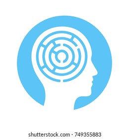 Human head silhouette with maze inside, mind complexity psychology concept. Vector icon or logo.