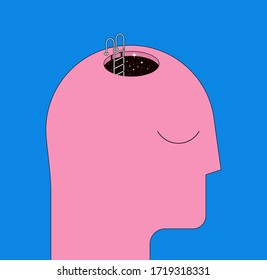 Human head silhouette with staircase to the head. Psychotherapy mental health concept, or inner space concept. Trendy flat styled vector illustration.