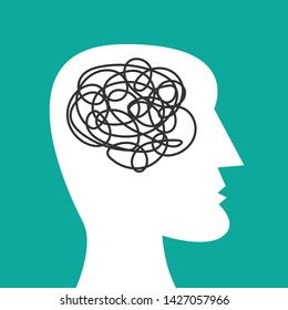 Human head silhouette with tangled messy line inside as brain. Concept of chaotic thinking process, confused mind, mental disorder, complicated problem. Flat vector illustration on cyan background.