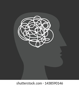 Human head silhouette with tangled messy line inside as brain. Concept of chaotic thinking process, confused mind, mental disorder, complicated problem. Flat vector illustration on black background.
