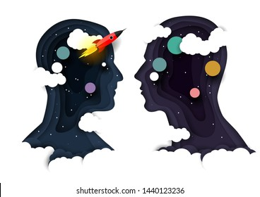 Human head silhouettes with clouds, planets and rocket inside. Vector illustration in paper art style. Brain power boost concept for web banner, website page, poster, etc.