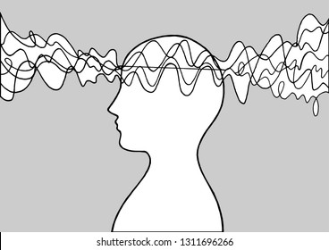 Human head spirit power energy wave vector abstract art illustration design hand drawing