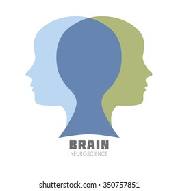 Human head with symbolic left & right brain functions illustration. Creative & analytical brain division concept icon template for Neuroscience, Psychology & Medicine, intellectual games. Sample text.
