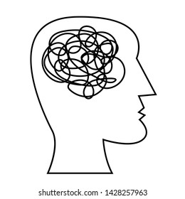 Human head with tangled messy line inside as brain. Concept of chaotic thinking process, confused mind, personal disorder, depression. Line vector illustration.
