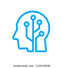 Human head tech logo, Circuit board technological brain, Artificial intelligence, Simple linear flat design icon symbol, Isolated on white background, Vector illustration