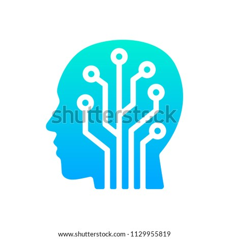 Human Head Tech Logo Circuit Board Stock Vector (Royalty