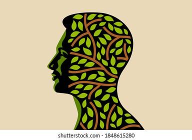 Der Mensch Kopf einen Baum mit Blättern. umweltfreundliches Vectorlogo