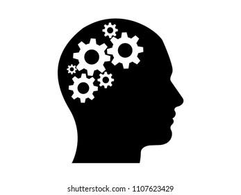 Human head wiith gears inside thinking vector