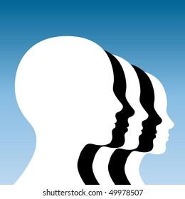 Human heads.