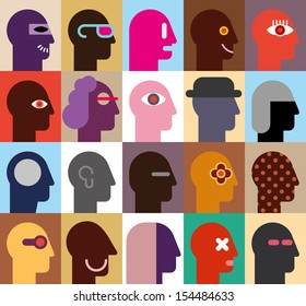 Human Heads - abstract vector illustration. Can be used as seamless wallpaper.
