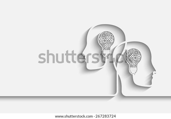 Têtes humaines créant un nouveau contexte d'idée. Eps10 image vectorielle pour votre conception