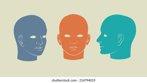 Human heads full-face, half-face and three-quarter. Vector silhouette illustration