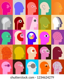 Human Heads. Large set of people images, vector illustration.