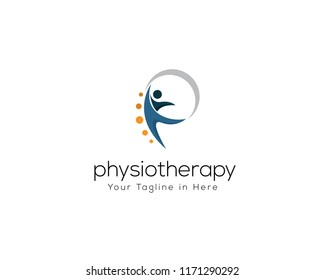 human health care logo, physiotherapy logo, human jump logo, p Letter logo