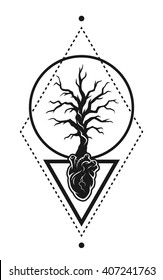 Human heart anatomy and the tree as a symbol of life, with geometric elements.