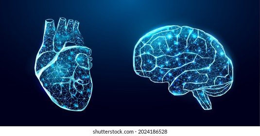Human heart and brain. Wireframe low poly style. Concept for medical, treatment of the hepatitis.  Abstract modern 3d vector illustration on dark blue background.