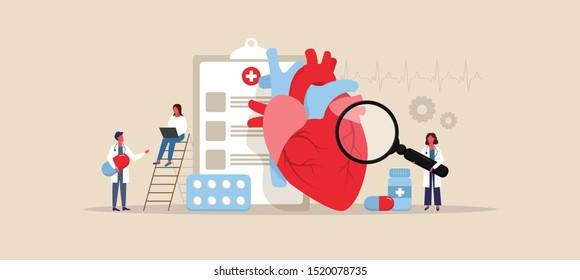 Human Heart. Cardiology concept. Doctors. Cardiology diagnostics. Vector