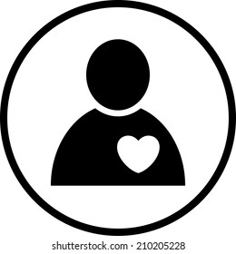 Human heart. Cardiology patient vector icon