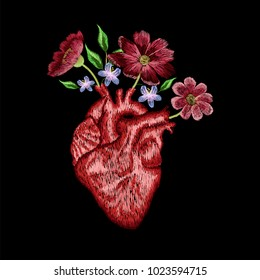 human heart embroidery, spring flowers embroidery patch  for tee, apparel fashion design
