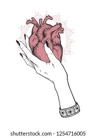 Human heart in graceful female hand isolated. Sticker, print or blackwork tattoo hand drawn vector illustration.