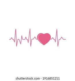 Human heart with heartbeat cardiogram line cartoon icon, flat vector illustration isolated on white background. Symbol or sign for world heart day or cardiology.