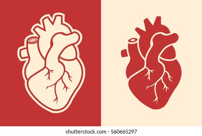 Human heart icons isolated on background
