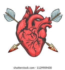 Human heart pierced by two arrows drawn in tattoo style isolated on white background. Vector Illustration.