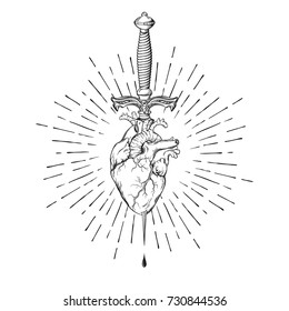 Human heart pierced with ritual dagger in rays of light isolated on white background hand drawn vector illustration. Black work, flash tattoo or print design.