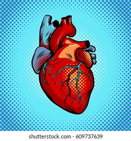 Human heart pop art retro vector illustration. Comic book style imitation.