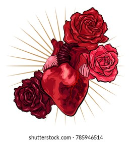 Human heart with red roses in tattoo style. Vector illustration