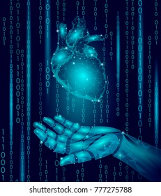 Human heart robot android hand low poly. Polygonal geometric particle design. Innovation medicine technology future humanoid doctor binary code background vector illustration