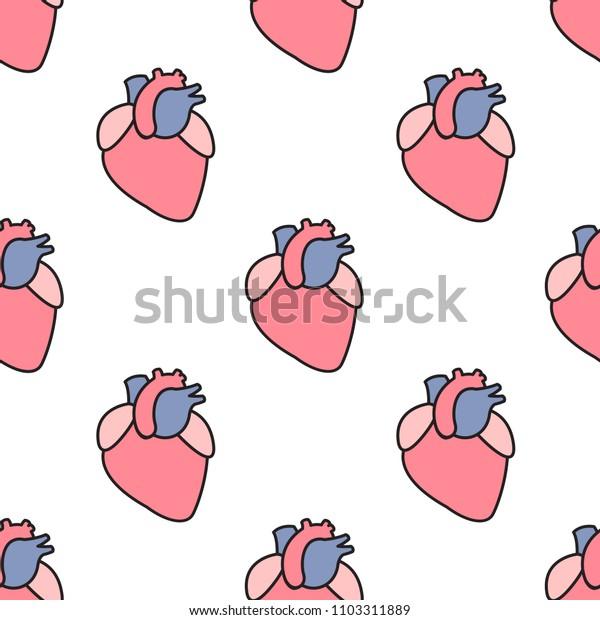human heart seamless pattern