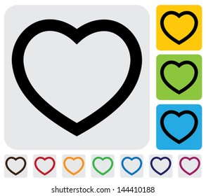 human heart(love) icon(symbol) outline- simple vector graphic. This illustration has the heart icon on grey, green, orange and blue backgrounds & useful for websites, documents, printing, etc