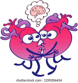 Human hearts thinking too much while kissing. They're opening eyes, hugging, touching their lips and raising a leg each. They show a cartoon brain in a thought bubble. They look surprised and dubious