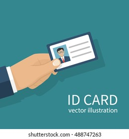 Human holds identification card in hand. With permit. Vector illustration, flat design style. Personal identification. Access control. Sign id card. Personal document.