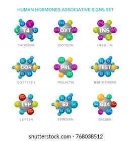 Human hormones vector signs with associative molecular structures set